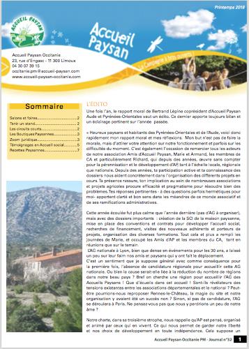 Le Journal d'Accueil Paysan Occitanie